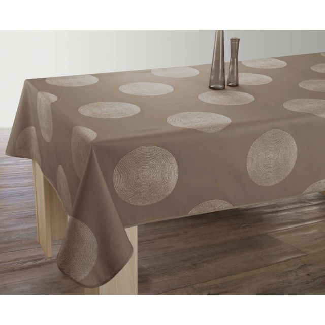 le linge de jules nappe anti taches cercles taupe. Black Bedroom Furniture Sets. Home Design Ideas