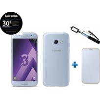 Samsung - Galaxy A3 2017 Bleu + Perche selfie bleu SSF63UF + Neon Flip Cover Galaxy A3 2017 - Bleu