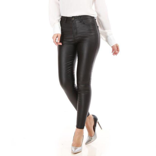 Pantalon skinny noir simili cuir