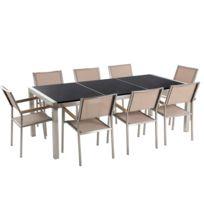 Table de jardin en plateau granit noir 220 cm avec 8 chaises beiges GROSSETO
