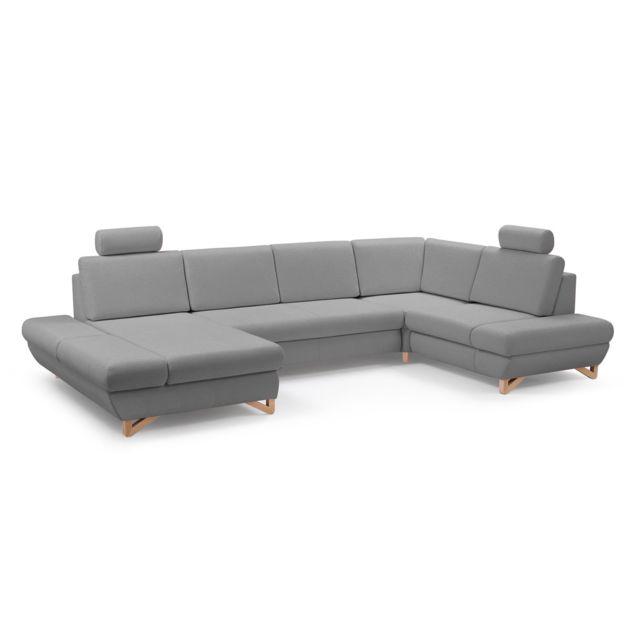 BESTMOBILIER Imola - Canapé d'angle panoramique XXL - 7 places - Convertible avec coffres de rangement - Accoudoirs réglables - Droit
