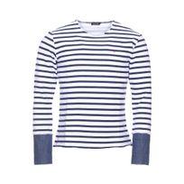 Deepend - Pull col rond en coton blanc à rayures bleu marine et poignets effet chemise