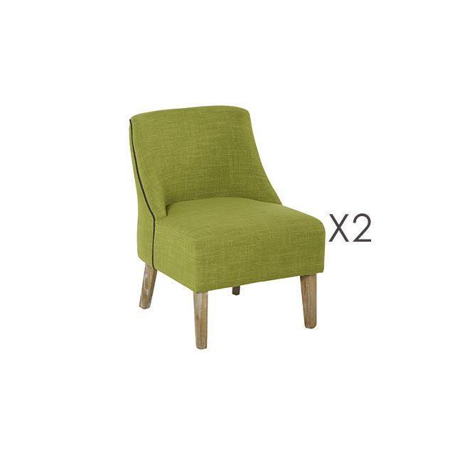 Lot de 2 fauteuils Crawford Pomme/Noir 53x54xH72cm