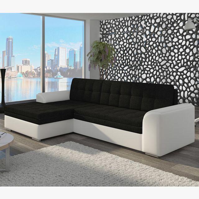 Canapé d'angle convertible noir et blanc WINSLOW 2