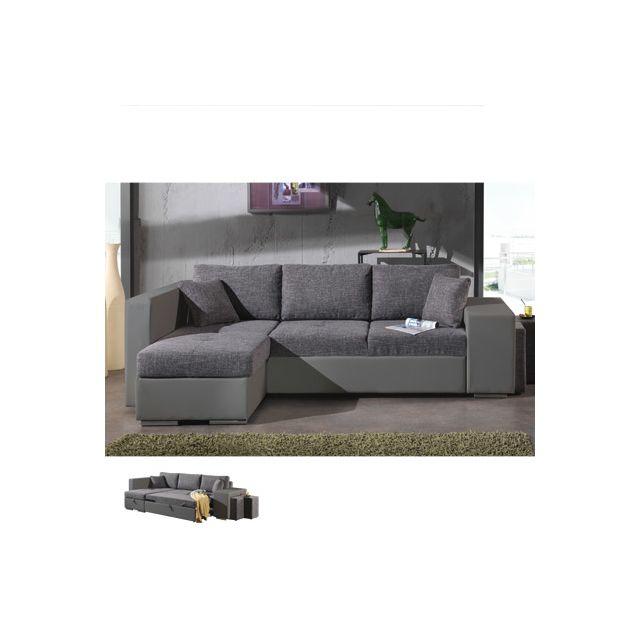 Canapé d'angle à gauche convertible gris et Pvc gris Palencia