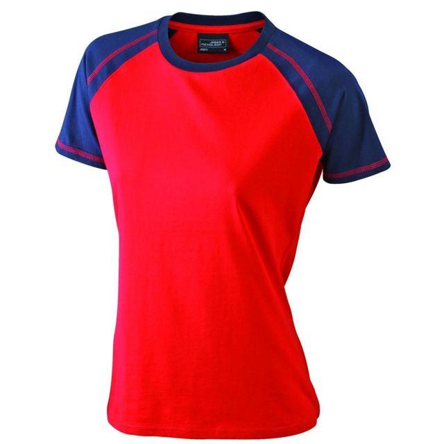 813c75aa99cad James   Nicholson - T-shirt bicolore pour femme Jn011 - rouge et bleu marine