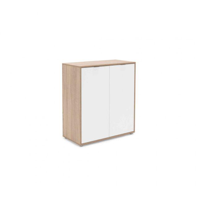 TERRE DE NUIT Commode 2 portes en bois imitation chêne clair et blanc - CO7102
