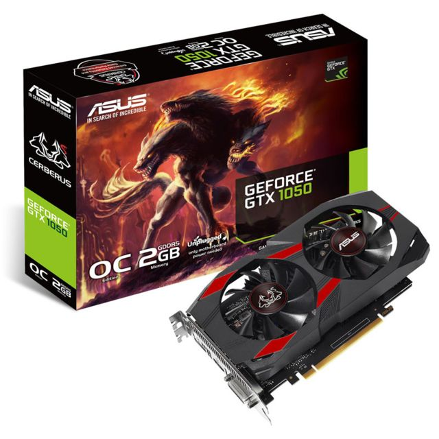 Asus Carte graphique GeForce Gtx 1050 Cerberus O2G, 2048 Mb Gddr5 Carte graphique Asus GeForce Gtx 1050 Cerberus O2G, 2048 Mb Gddr5