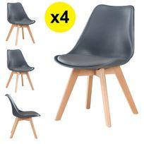 Import&DIFFUSION - Lot de 4 chaises scandinaves coloris gris foncé - Skagen