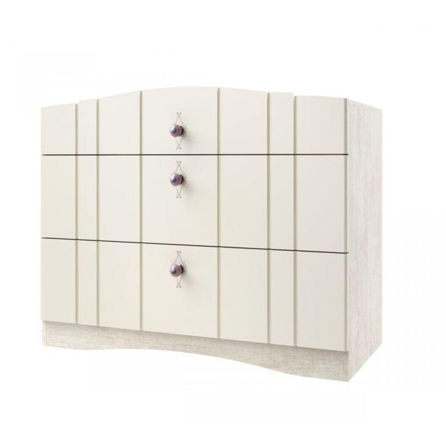TERRE DE NUIT Commode 3 tiroirs imitation chêne ivoire CO4004