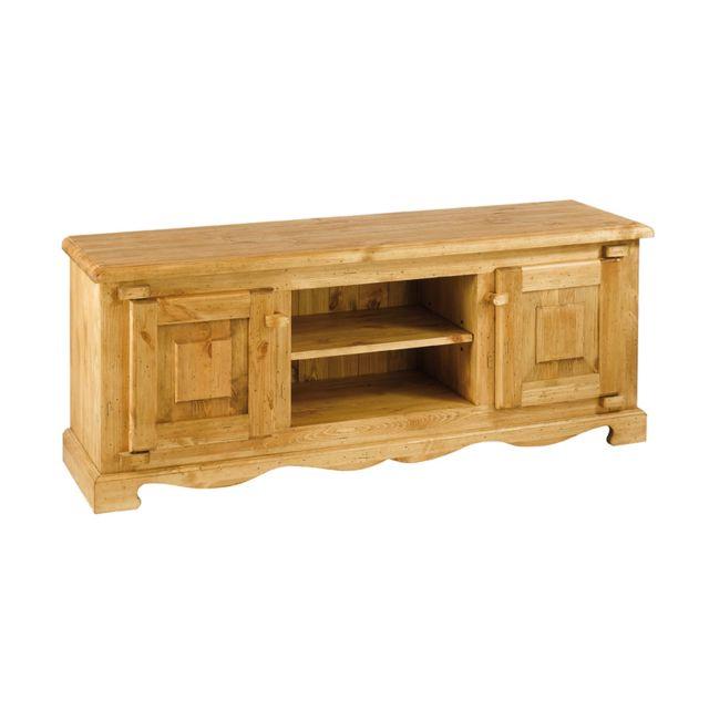 marque generique meuble tv rustique en pin massif 2 portes 2 niches farm pas cher achat. Black Bedroom Furniture Sets. Home Design Ideas