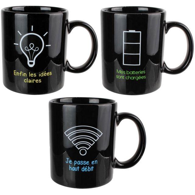 Promobo Set Lot 3 Mugs Tasses A Café Magique En Céramique Change De Couleur Design Fun
