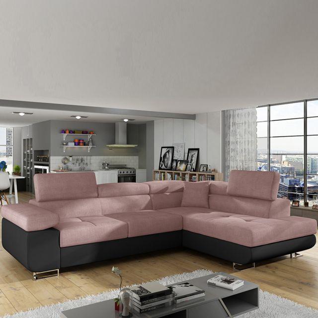 Sofamobili Canapé angle à droite rose et noir convertible Scott