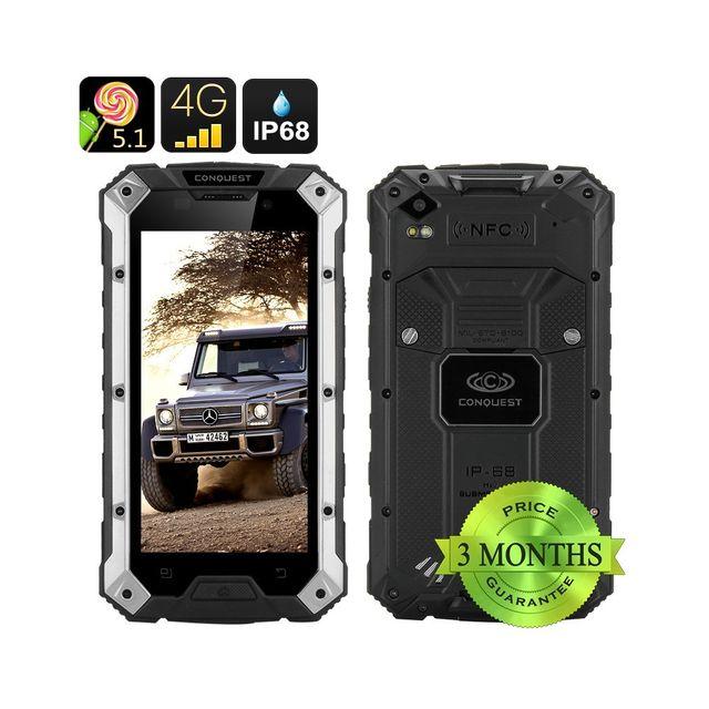 Auto-hightech Telephone smartphone Android Robuste 4G 5pouces 6000mAh Bluetooth 4.0 Nfc Argent et Noir