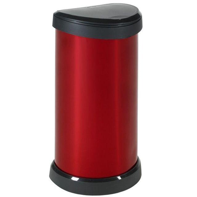 curver poubelle de cuisine pression 40 litres aspect m tal ronde bliss rouge sans sac. Black Bedroom Furniture Sets. Home Design Ideas
