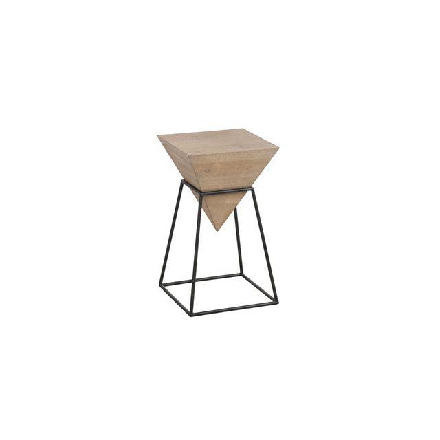Table gigogne géométrique 64x36cm en métal et bois naturel