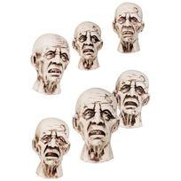 Boland - Têtes de zombie décoration Halloween x6