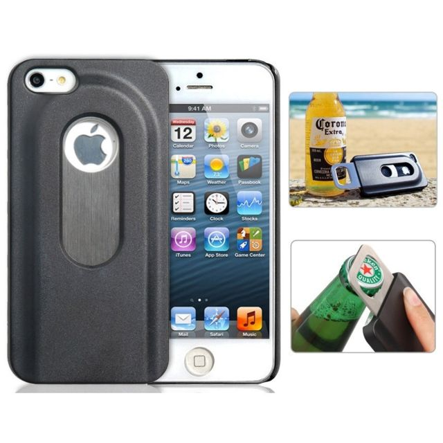 Shopinnov - Coque iPhone 5 5S Decapsuleur Ouvre bouteille Noire ...