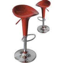 Comforium - Lot de 2 tabourets de bar coloris rouge