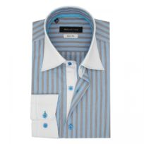 2e98373eda67 Meadrine - Chemise Homme Slim fit a microRayures avec col poignet gorge  Blancs surpique fil turquoise