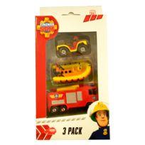 Dickie Toys - Set de 3 véhicules de secours Sam le pompier : Quad, bateau et camion de pompier