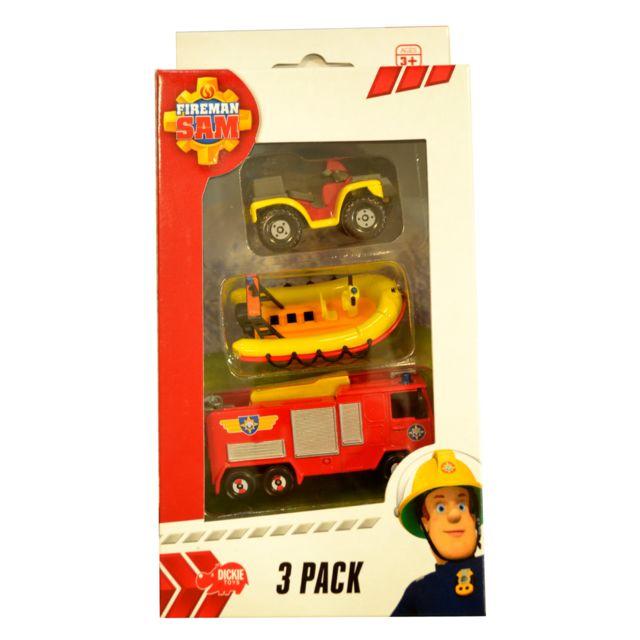 Dickie toys set de 3 v hicules de secours sam le pompier quad bateau et camion de pompier - Bateau sam le pompier ...
