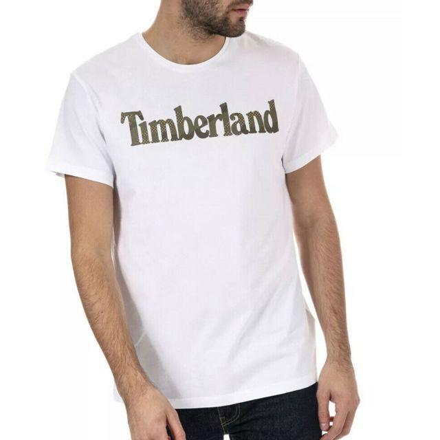 Timberland - T-shirt blanc homme Logo Multicouleur