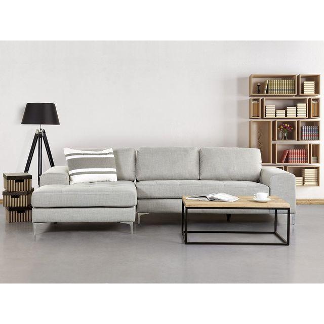 Beliani Canapé d'angle - canapé en tissu gris clair - Kiruna
