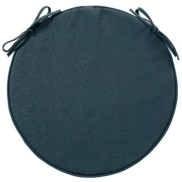 galette de chaise ronde d 42 cm polyester bleu orage pas cher achat vente coussins. Black Bedroom Furniture Sets. Home Design Ideas