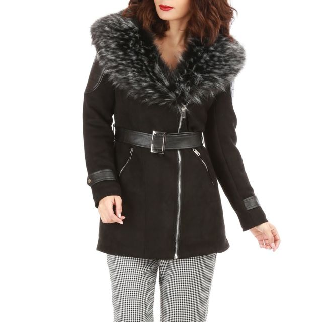 lamodeuse manteau noir en su dine col fausse fourrure et ceinture pas cher achat vente. Black Bedroom Furniture Sets. Home Design Ideas