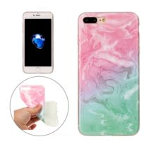 Wewoo - Coque rose et vert pour iPhone7 Plus Motif Marbre Tpu Étui de Protection
