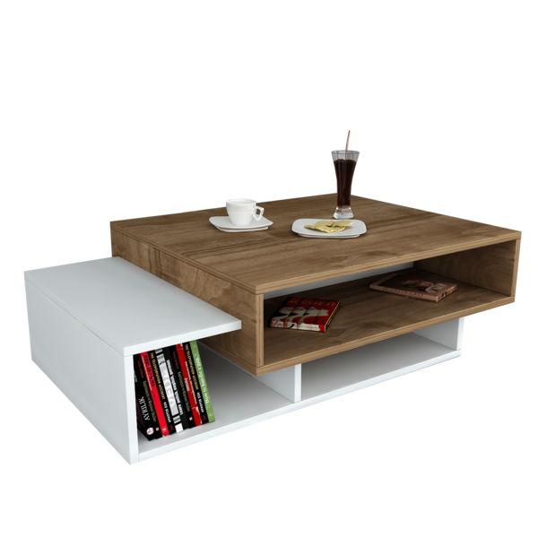 Alphamoebel Table basse Tab blanc-noyer 105x32x60 cm