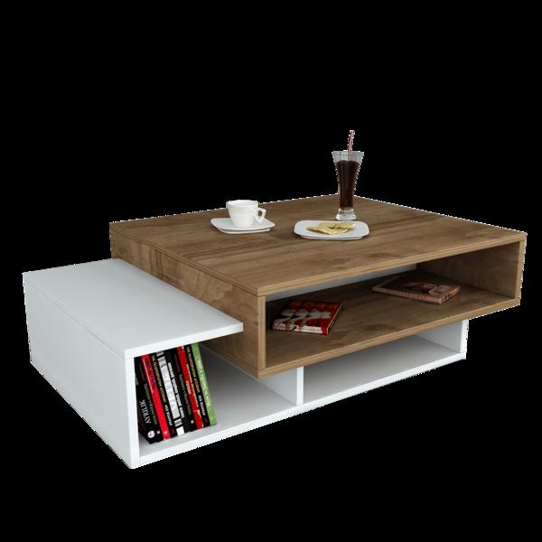 Alphamoebel Table basse Tab blanc-noyer 105x32x60 cm