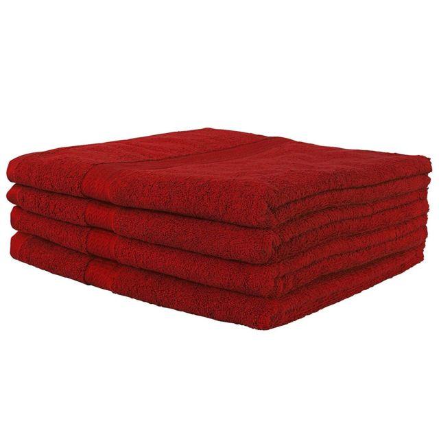 Helloshop26 Lot de 4 serviettes de toilette bain 140 x 70 cm 100% coton rouge 4001019