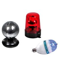 Lytor - Pack Gyrophare rouge + Boule à facettes + Ampoule à Leds Rvba 4X1W