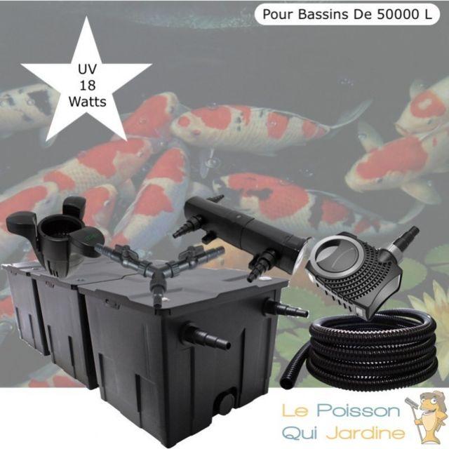 Le Poisson Qui Jardine Kit Filtration Complet, Uv 18W + Écumeur Pour Bassins De 50000 L