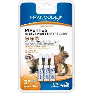 Francodex - Pipettes Insectifuges Pour Lapin, Furet Et Cobaye, 3 pipettes de 0,4 ml