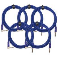 Pronomic - 5x Set Trendline Inst-3B câble à instrument 3m bleu