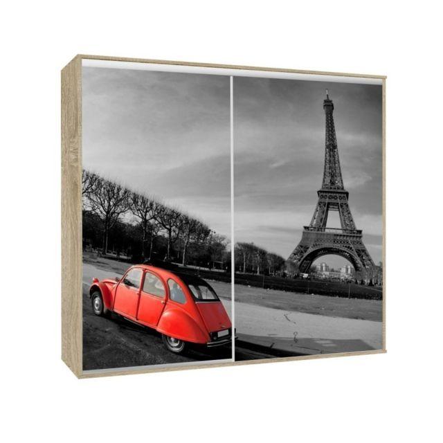 Armoire 2 portes coulissantes Loppee largeur 155 cm décor Paris