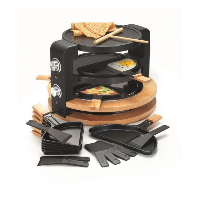 Kitchen Chef Raclette rond 8 Personnes 1500W Finition Bois