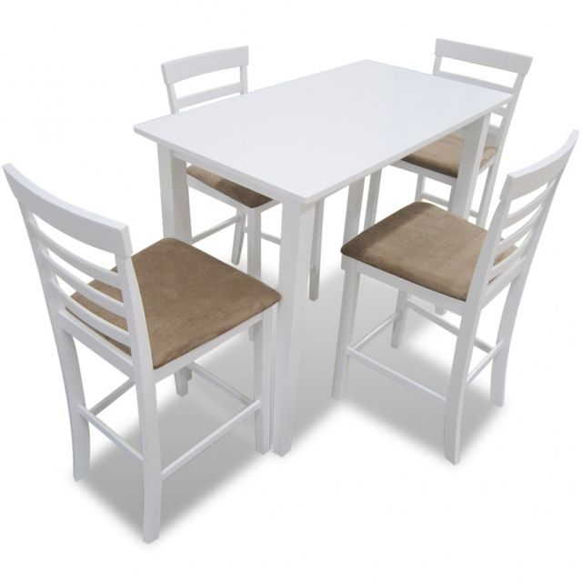 Casasmart Lot table de bar blanche et 4 chaises de bar