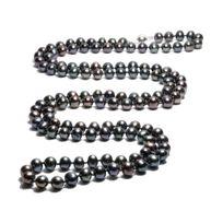 Blue Pearls - Collier Sautoir Perles de culture Noires 91 cm et Argent 925 - Bps 0003 L