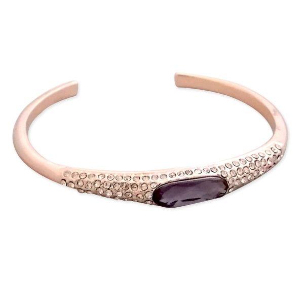 Totalcadeau - Bracelet semi ouvert doré, strass et faux cristal mauve bijou  fantaisie pas cher e6ddd521188