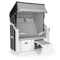 BLUMFELDT - Hiddensee Chaise longue corbeille cabine plage XL 2 places - gris