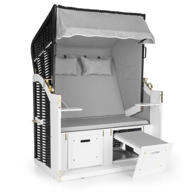 BLUMFELDT Hiddensee Chaise longue corbeille cabine plage XL 2 places - gris