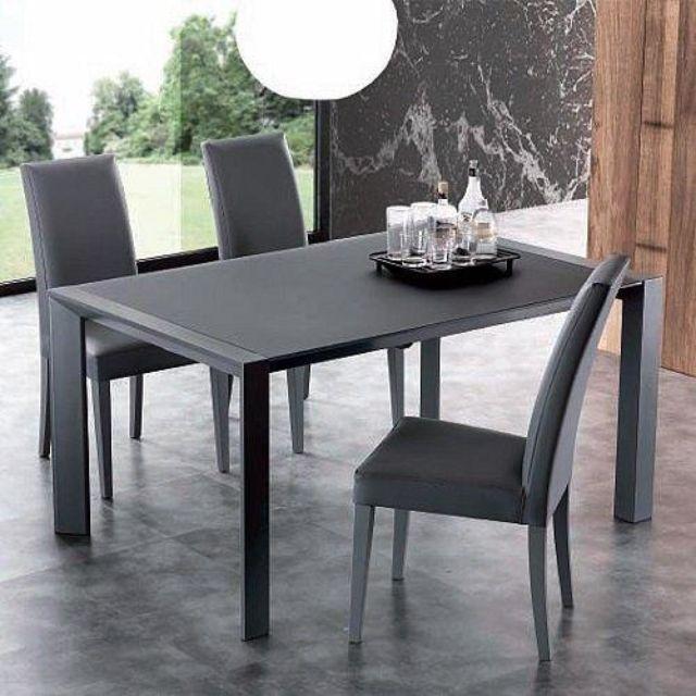 Inside 75 Table repas extensible London Beat structure acier laqué gris titane dessus en verre titane 140 x 90 cm