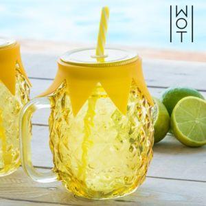 Pot à boire avec couvercle et paille ananas - Verre à coktail vintage