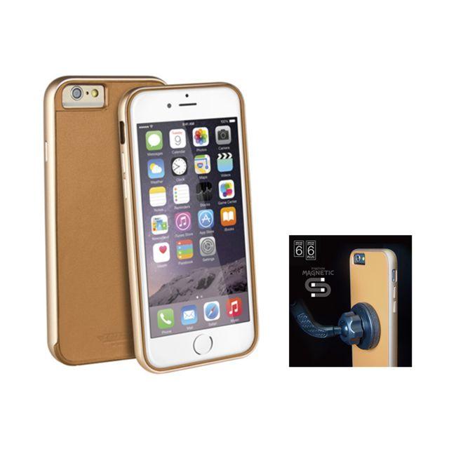 """Uniq AirCraft Plus"""" iPhone 6 + support magnétique - Camel La coque AirCraft Plus est la protection idéale pour votre iPhone 6. Son contour en aluminium protège parfaitement votre iPhone. Son dos en cuir, du plus bel effet, habille et rend votre iPhon"""