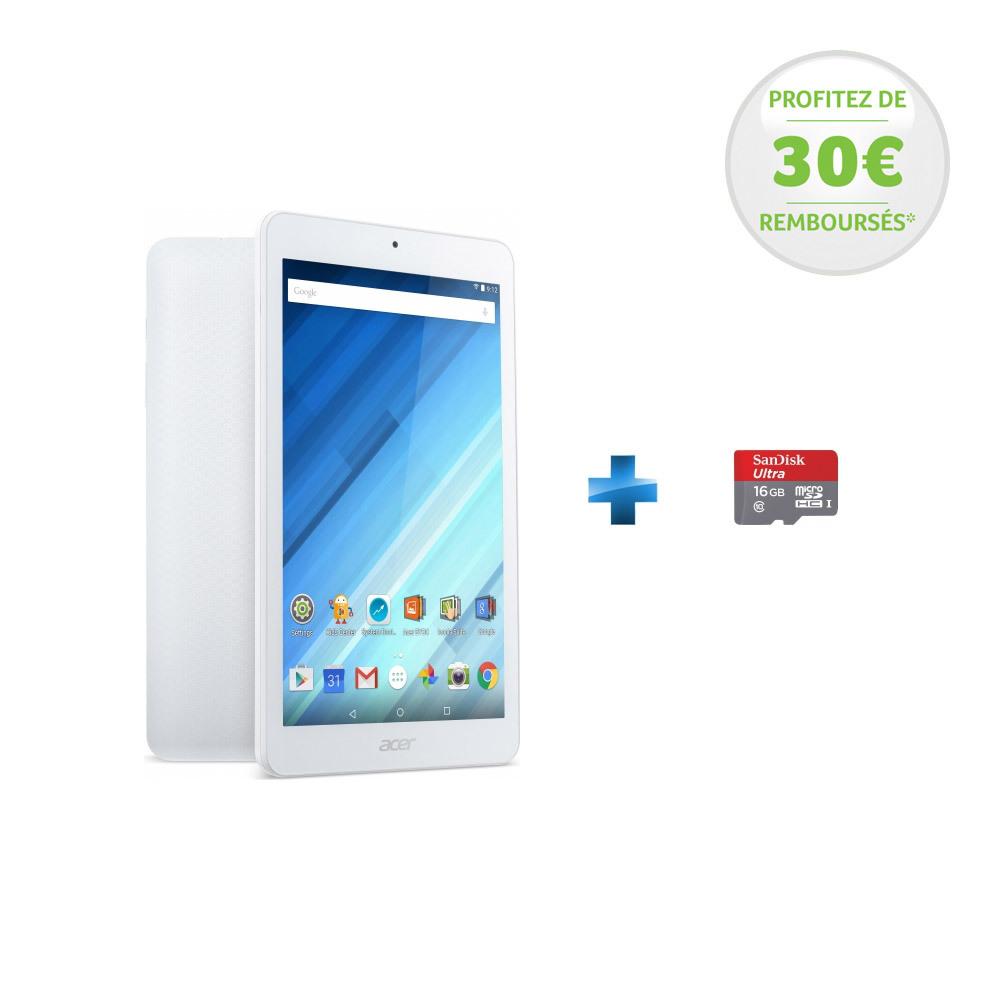 Iconia One 8 - NT.LC3EE.009 - Wifi - Blanc + microSDHC 16 Go Sandisk Class 10