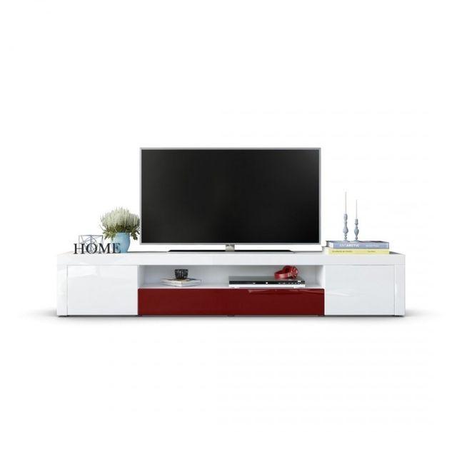 Mpc Meuble tv moderne laqué blanc et bordeaux 200 cm avec led